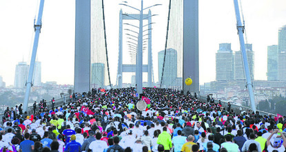pThousands of runners will throng Istanbul on Sunday to run the 39th Istanbul Marathon, the world's only cross-continental race. The slogan this year is: We are running for the future of our...