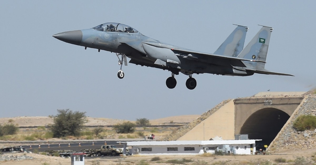 This Nov. 16, 2015, file photo shows a Saudi F-15 fighter jet landing at the Khamis Mushayt military airbase. (AFP Photo)
