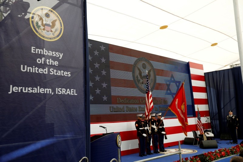 U.S. marines take part in the dedication ceremony of the new U.S. embassy in Jerusalem, May 14, 2018 (Reuters Photo)