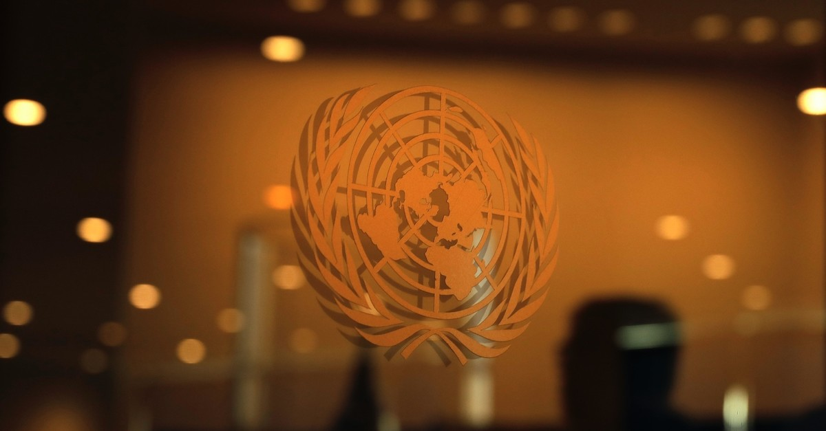 The United Nations logo is seen at the 2019 United Nations Climate Action Summit at U.N. headquarters in New York, Sept. 23, 2019.