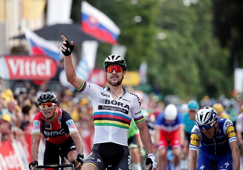 Bora-Hansgrohe rider Peter Sagan of Slovakia celebrates winning the stage (Reuters Photo)