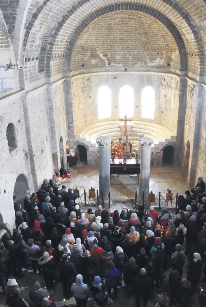 Hundreds from Turkey and Greece attended the Divine Liturgy in the ancient church.