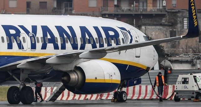 In this file photo taken on January 14, 2019 a Boeing 737-8AS  bearing the Ryanair Irish low-cost airline livery, are pictured at Rome's Ciampino airport (AFP Photo)