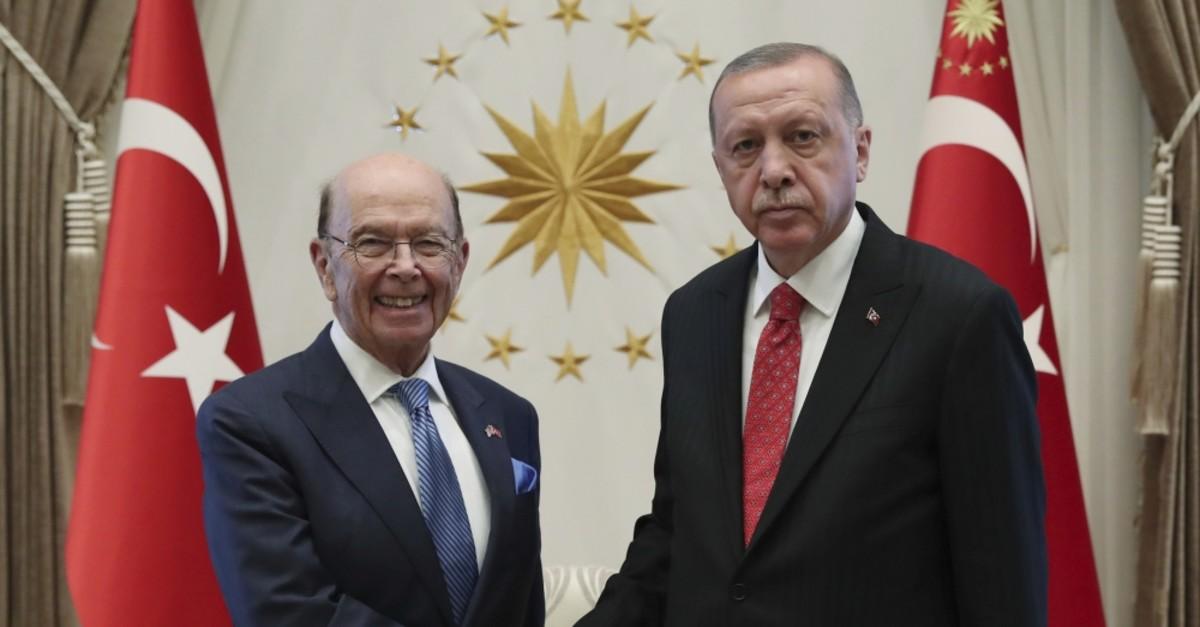 President Recep Tayyip Erdou011fan (R) shakes hands with U.S. Commerce Secretary Wilbur Ross, Ankara, Sept. 10, 2019.