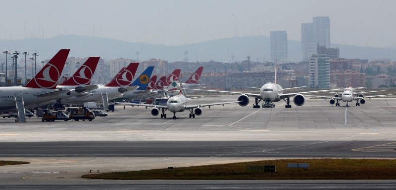 Airplanes taxiing at Atatu00fcrk International Airport in Istanbul, Turkey. (Reuters Photo)