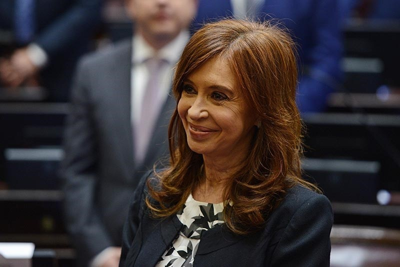 Argentine former president and Buenos Aires senator Cristina Fernandez de Kirchner smiles during the swearing-in ceremony in which she took oath for a new mandate as senator, at the Congress in Buenos Aires, on Nov. 29, 2017. (AFP Photo)