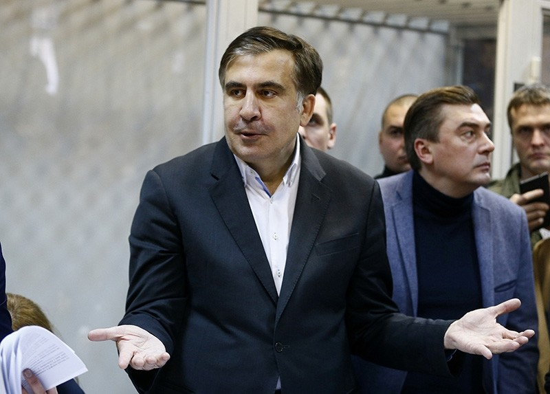 In this Monday, Dec. 11, 2017, former Georgian President Mikheil Saakashvili gestures during a hearing in a court room in Kiev, Ukraine. (AP Photo)