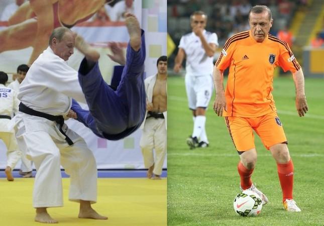 Putin, a former black-belt judoka and Erdoğan, a former footballer.