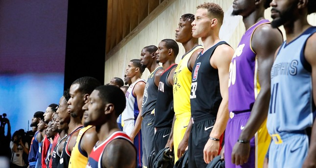 Nike unveils the new jerseys during the unveiling of the New NBA Partnership with Nike in Los Angeles.
