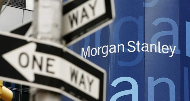 A street sign is seen near the Morgan Stanley worldwide headquarters building in New York.