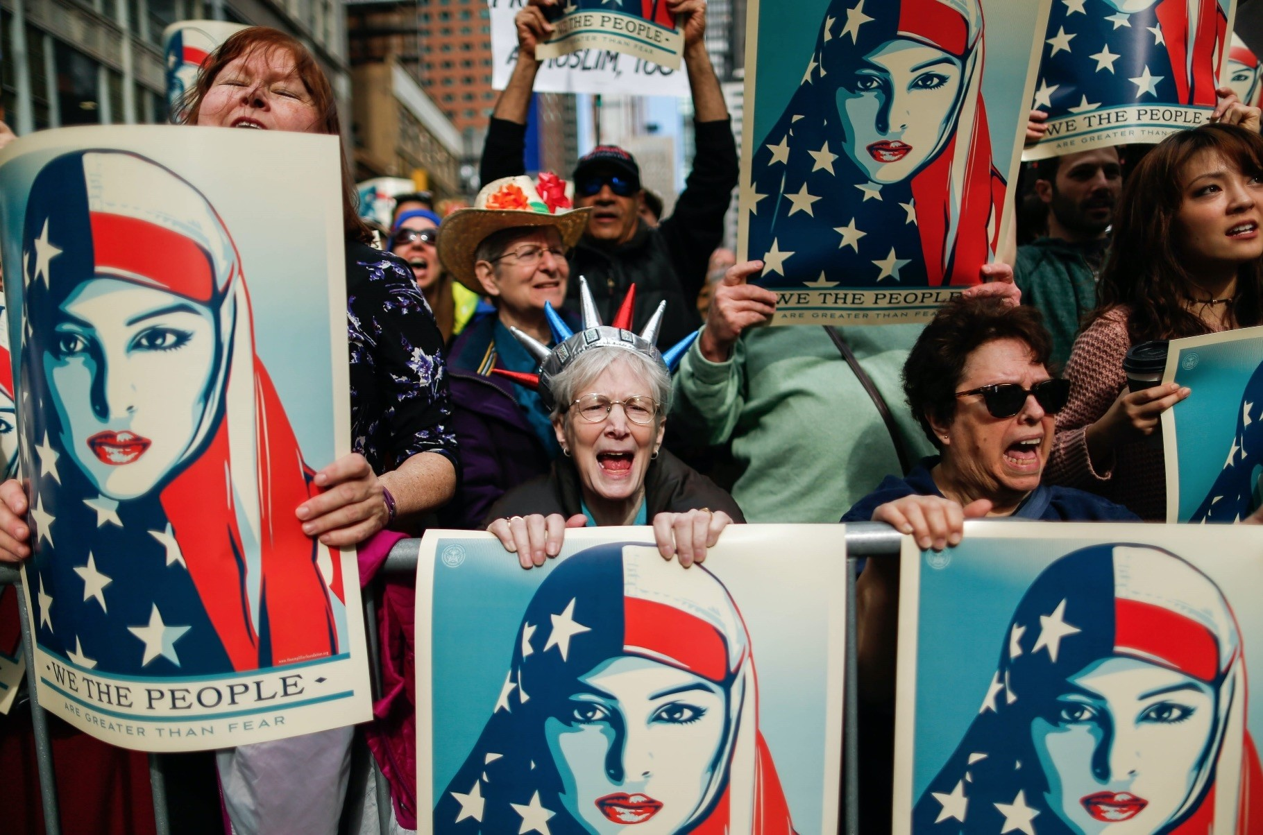 People take part in a rally to show solidarity with Muslim women, New York City, Feb. 19, 2017.