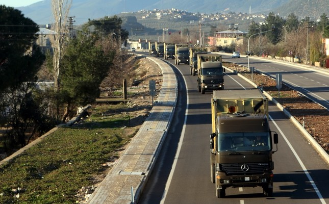 A Turkish military convoy en route to southeastern Gaziantep province on the Syrian border, as part of the deployment preparations for a cross-border operation against the YPG in Syria, Jan. 21, 2019.