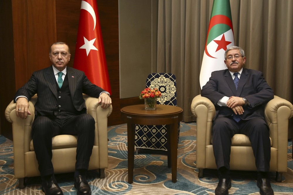 President Recep Tayyip Erdou011fan (L) and Algerian Prime Minister Ahmed Ouyahia during a meeting in Algiers, Algeria, Feb. 26.