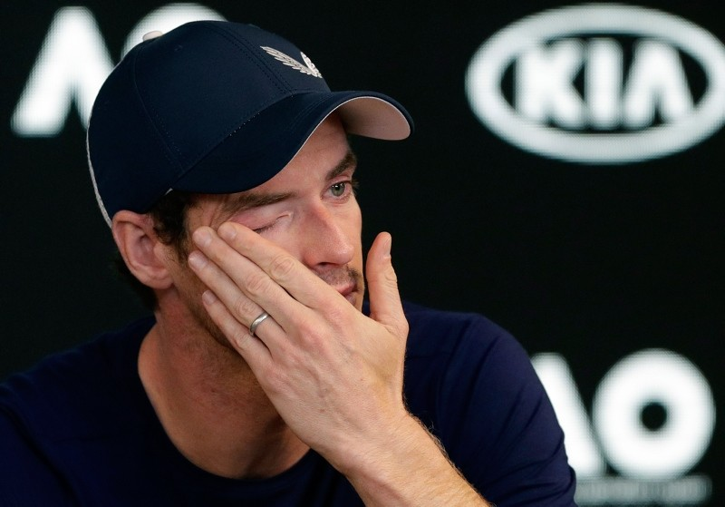 Britain's Andy Murray wipes tears from his face during a press conference at the Australian Open tennis championships in Melbourne, Australia, Friday, Jan. 11, 2019. (AP Photo)