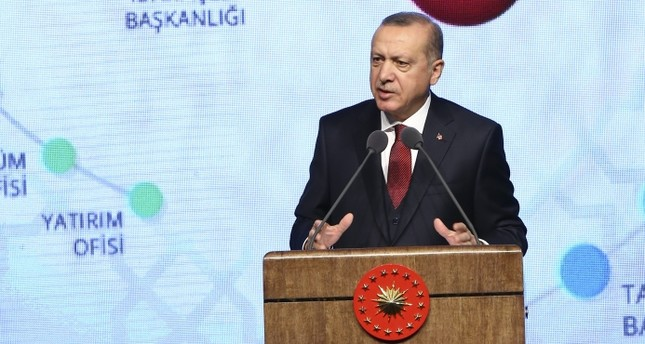 President Recep Tayyip Erdoğan speaks at the launching ceremony of the second 1008day action plan at the Presidential Complex in Ankara yesterday.
