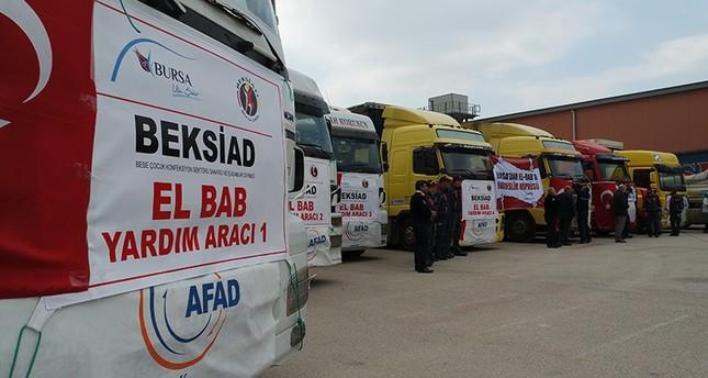 قافلة مساعدات من بورصة التركية لـالباب السورية
