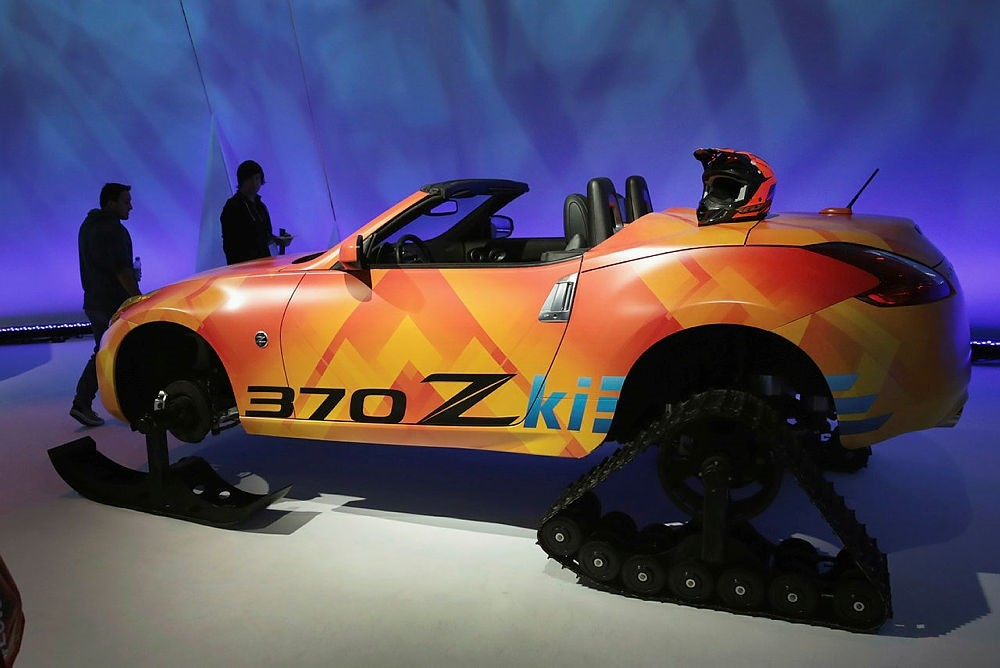 Nissan shows off a 370 Z tracked concept vehicle at the Chicago Auto Show.