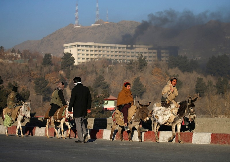 Smoke rises from the Intercontinental Hotel during an attack in Kabul, Afghanistan, Jan. 21, 2018. (Reuters Photo)