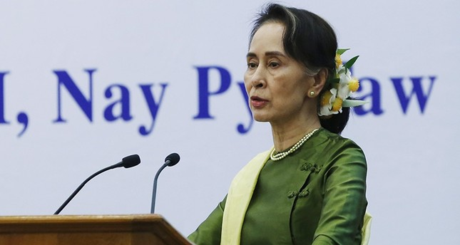 Myanmar's State Counselor Aung San Suu Kyi speaks during the Conference on Justice Sector Coordination For Rule of Law at the Myanmar International Convention Center 2 in Naypyitaw, Myanmar (EPA Photo)