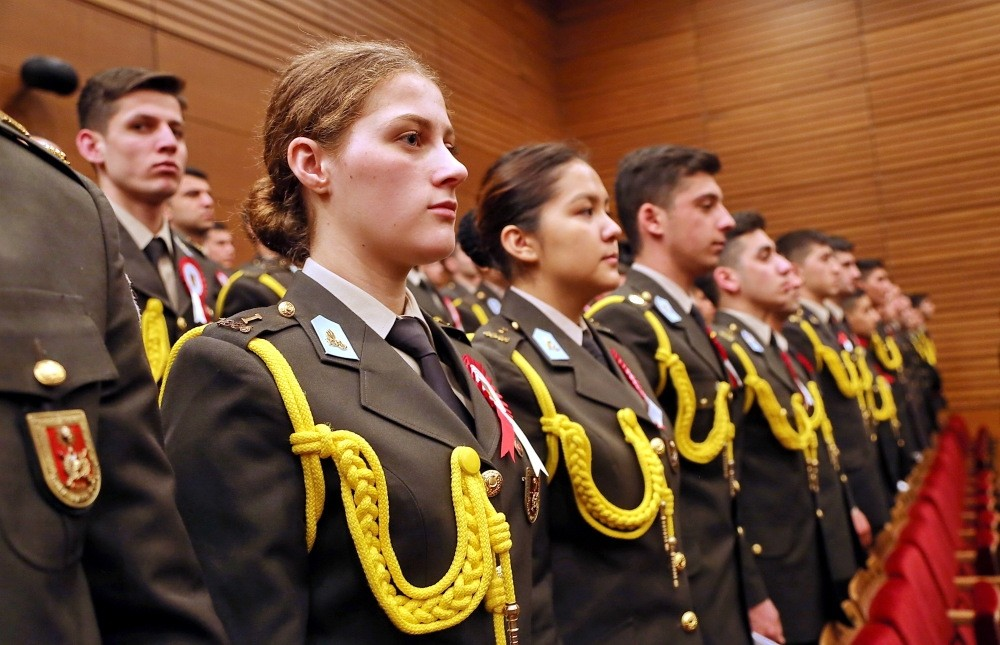 Cadets at the ceremony for the new school year at the Turkish Military Academy.
