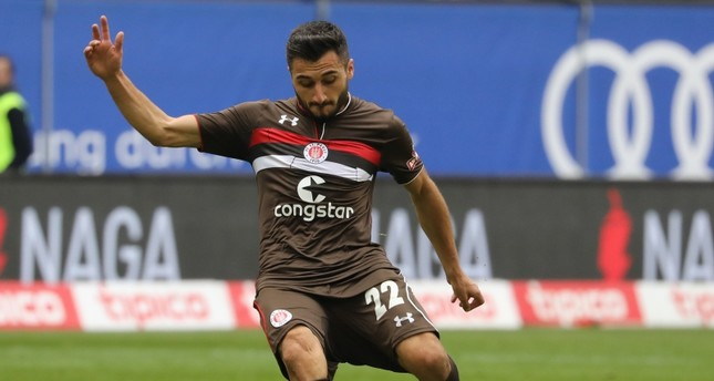 St. Pauli's Cenk Şahin in action during the German Second Bundesliga soccer match between HSV Hamburg and FC St. Pauli, in Hamburg, Germany, Sept. 30, 2018.