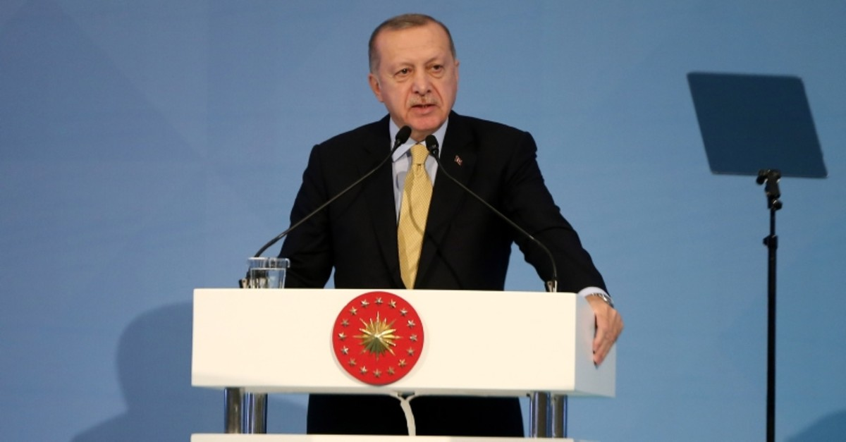 President Recep Tayyip Erdou011fan addresses the OIC conference in Istanbul on Sunday, Dec. 8, 2019 (AA Photo)