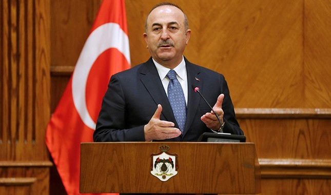 Foreign Minister Mevlüt Çavuşoğlu, speaks during a news conference with his Jordanian counterpart Ayman Safadi in Amman, Jordan, Feb. 19, 2018. (Reuters Photo)