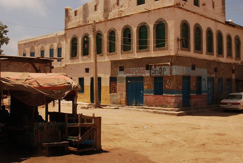 Mansion on a corner of the main square of Berbera, Somaliland, on March 24 2017. (TRF-Tom Gardner)