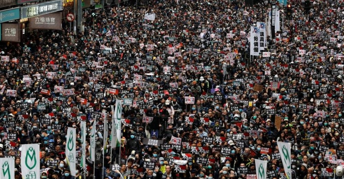Anti-government protesters attend a demonstration on New Year's Day, Hong Kong, Jan. 1, 2020. (Reuters Photo)