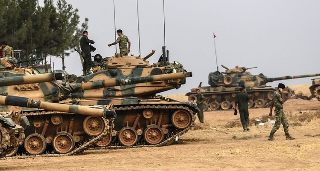 Turkish tanks around 5 kilometres west of the Turkish Syrian border city of Karkamış in the southern region of Gaziantep, Aug. 25, 2016. Turkey drove Daesh from its border with Operation Euphrates Shield.