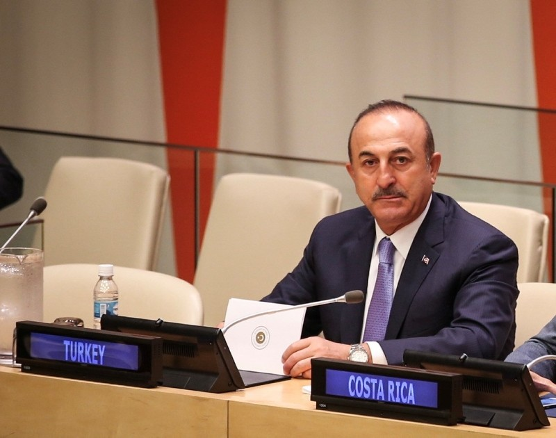 Foreign Minister Mevlu00fct u00c7avuu015fou011flu attends UN General Assembly event headlined ,Global Compact on Refugees: A Model for Greater Solidarity and Cooperation., 24 Sept. 2018 (AA Photo)