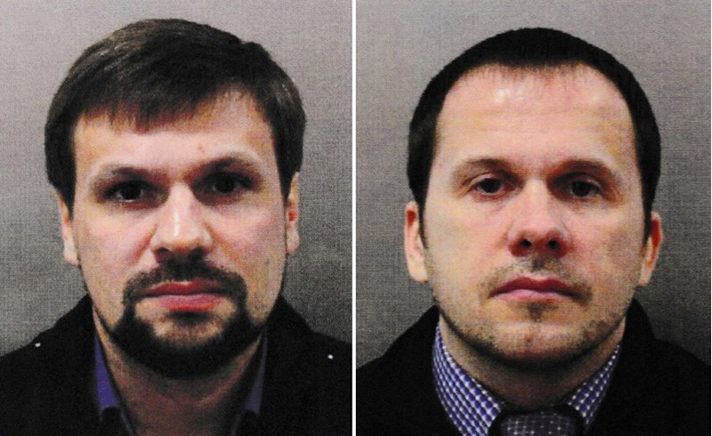 Alexander Petrov (R) and Ruslan Boshirov (L) are seen in an image handed out by the Metropolitan Police in London, Britain September 5, 2018. (EPA Photo)