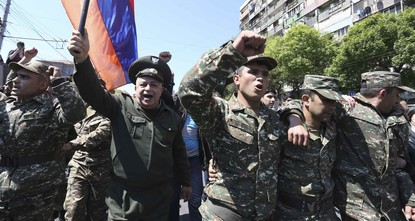 Armenian soldiers join anti-government protests