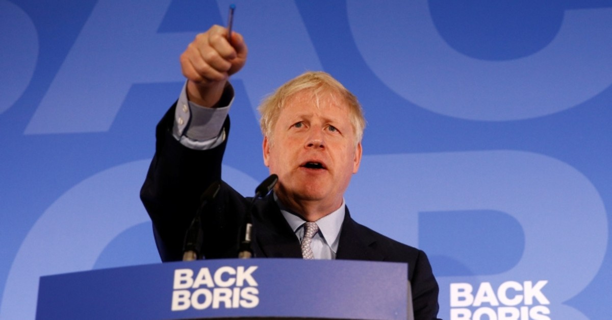 Conservative Party leadership candidate Boris Johnson gestures as he talks during the launch of his campaign in London, Britain June 12, 2019. (Reuters Photo)