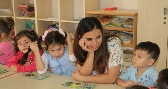 Nurten Akkuş with her students at the school in the province of Samsun, Sept. 18, 2019.