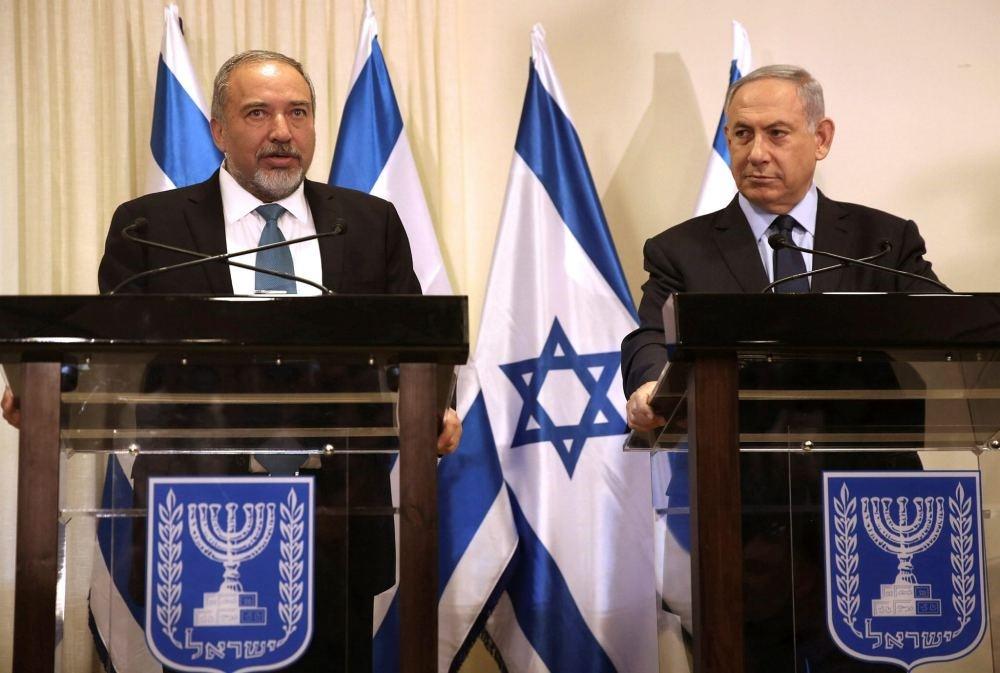 Israeli Defense Minister Avigdor Lieberman and Prime Minister Benjamin Netanyahu at the Knesset, the Israeli parliament in Jerusalem.