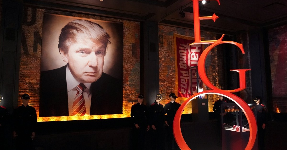 Pieces of memorabilia are pictured in artist-provocateur Andres Serrano's take on U.S. President Donald Trump with a new exhibit called u201cThe Game, All Things Trumpu201d in New York, April 25, 2019.