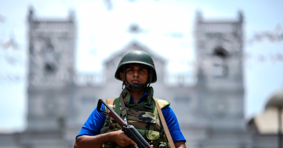 Sri Lankan navy soldiers secure the area out side St. Anthony's Church in Colombo, Sri Lanka, Thursday, April 25, 2019. (AFP Photo)