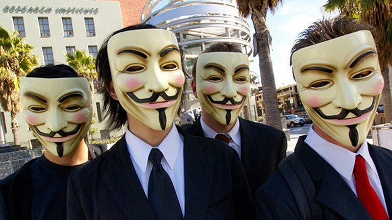 Anonymous hackers often identify themselves in public by wearing Guy Fawkes masks as portrayed in the novel and film V for Vendetta. (Sabah File Photo)