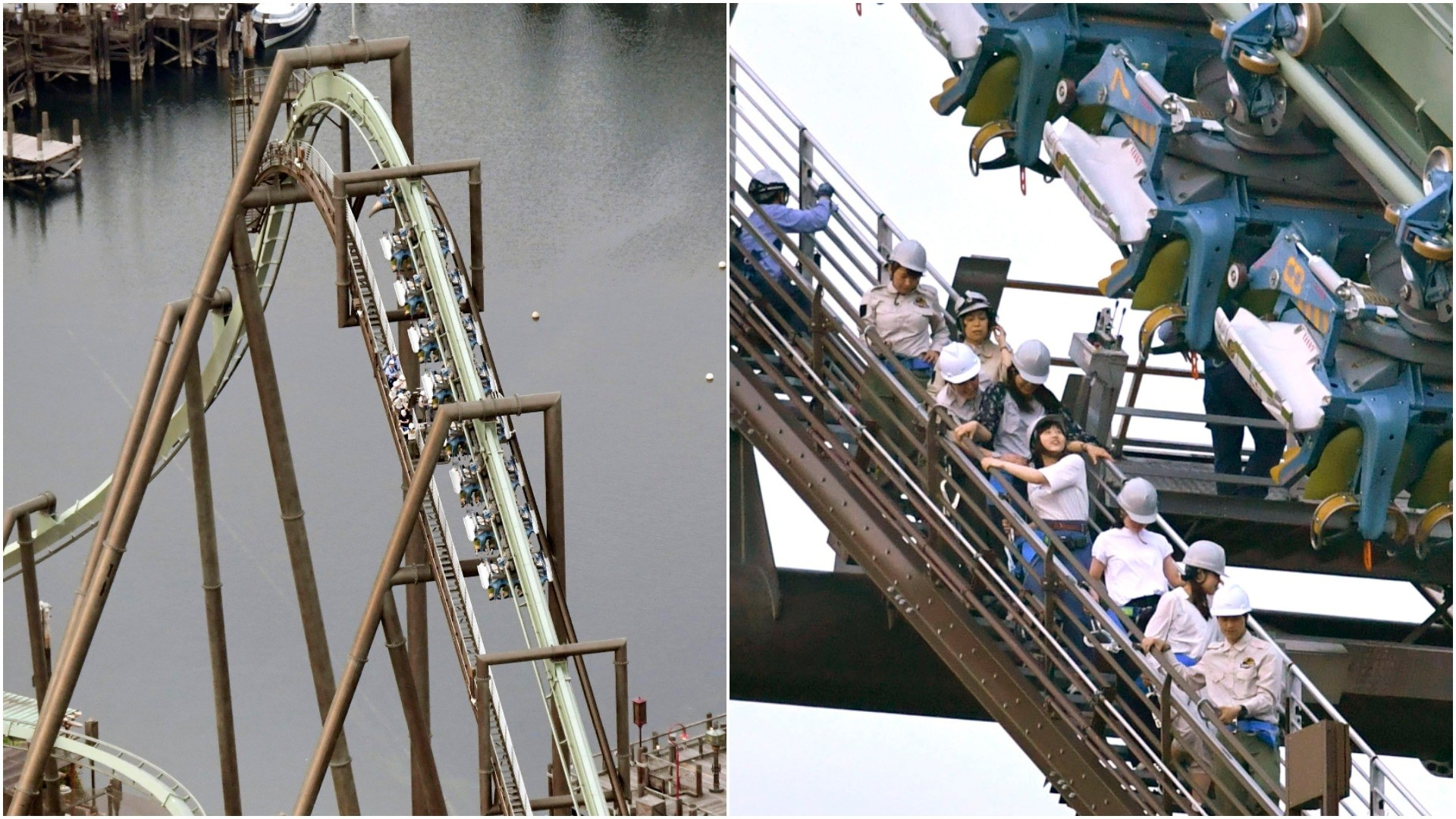 In this Tuesday, May 1, 2018, photo, passengers are rescued from the stopped Flying Dinosaur rollercoaster at Universal Studios Japan amusement park in Osaka, western Japan. (AP Photo)