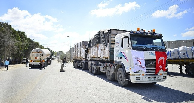 شاحنات جديدة من مساعدات السفينة التركية الثانية تصل قطاع غزة