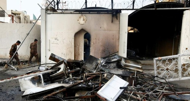 A view of the Iranian Consulate after Iraqi demonstrators stormed and set fire to the building during ongoing anti-government protests in Najaf, Iraq Nov. 28, 2019. (Reuters Photo)