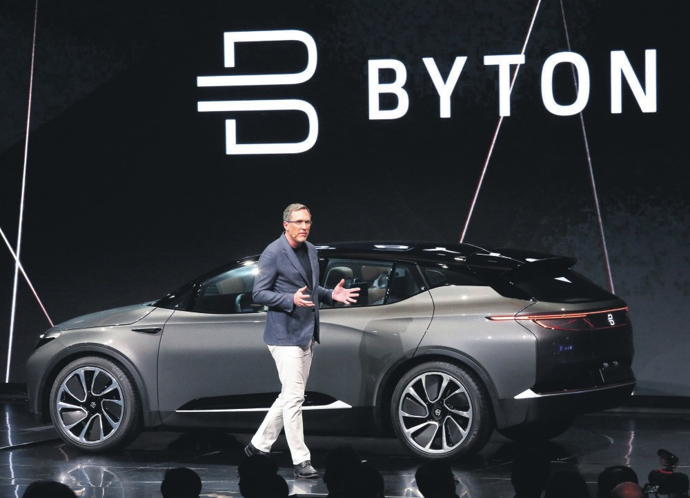 President and co-founder Dr. Daniel Kirchert talk about the new Byton electric car at the 2018 International Consumer Electronics Show, Las Vegas.