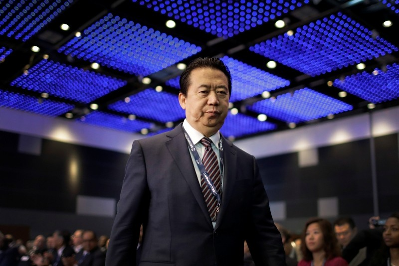 Ex-Interpol President, Meng Hongwei, walks toward the stage to deliver his opening address at the Interpol World congress in Singapore. (AP File Photo)