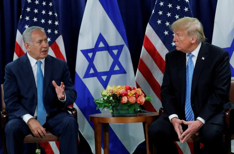 Israeli PM Benjamin Netanyahu meets with U.S. President Donald Trump on the sidelines of the 73rd session of the U.N. General Assembly at U.N. headquarters in New York, U.S., Sept. 26, 2018. (Reuters Photo)