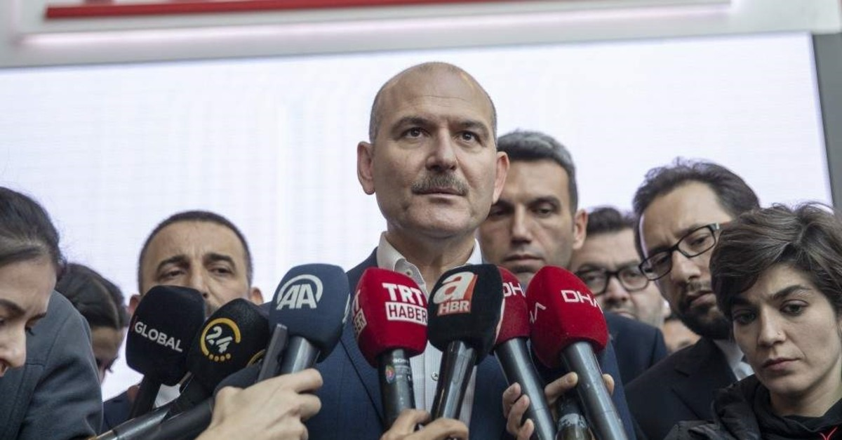 Interior Minister Su00fcleyman Soylu speaks to reporters at a technology fair at the ATO Congresium in Ankara on Saturday, Nov. 2, 2019 (AA Photo)