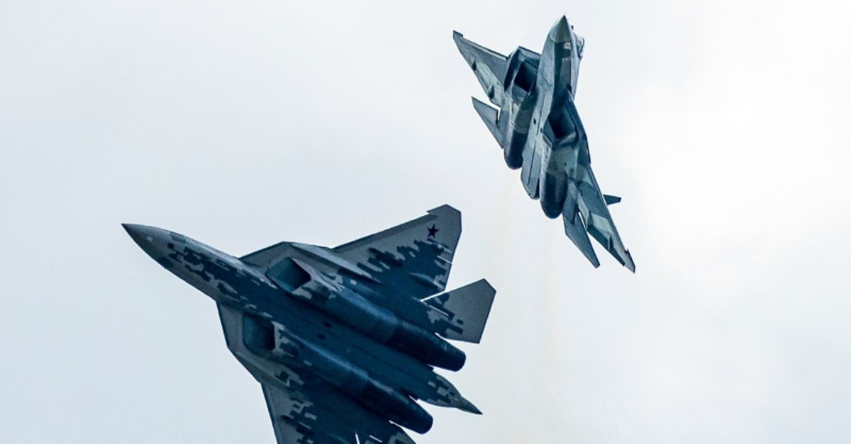 In this file photo taken on Tuesday, Aug. 27, 2019, Russian Air Force Sukhoi Su-57 fifth-generation fighter jets perform during the MAKS-2019 International Aviation and Space Show in Zhukovsky, outside Moscow, Russia. (AP Photo)