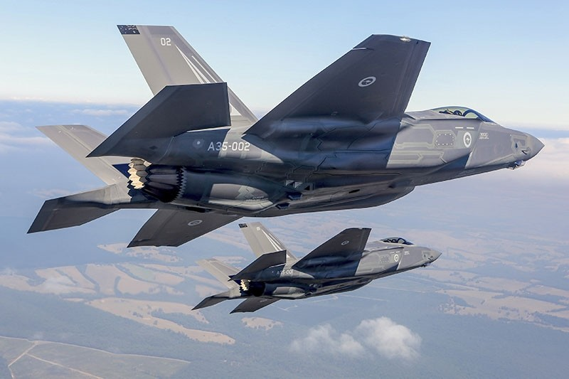 Two Lockheed Martin Corp F-35 stealth fighter jets fly during a display at the Avalon Airshow in Victoria, Australia, March 3, 2017. (Australian Defence Force / Handout via Reuters)