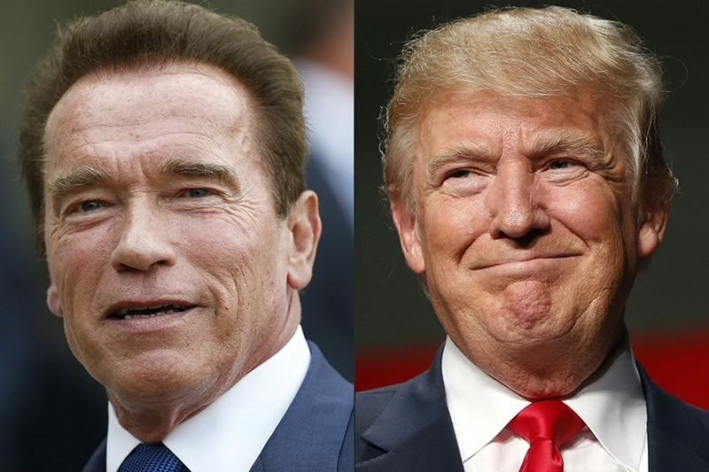 This file combination of pictures created on January 6, 2017 shows recent pictures of US actor and former governor of California Arnold Schwarzenegger (L) and US President Elect Donald Trump. (AFP Photo)