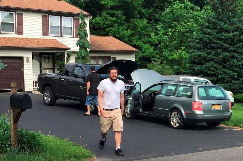 Michael Rotondo, 30, prepares to leave his parents' house in Camillus, N.Y., Friday, June 1, 2018. (AP Photo)